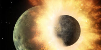 Ancient impact that formed Earth's moon was likely a one-two punch