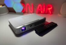 This mini portable projector is big screen entertainment that fits in your pocket